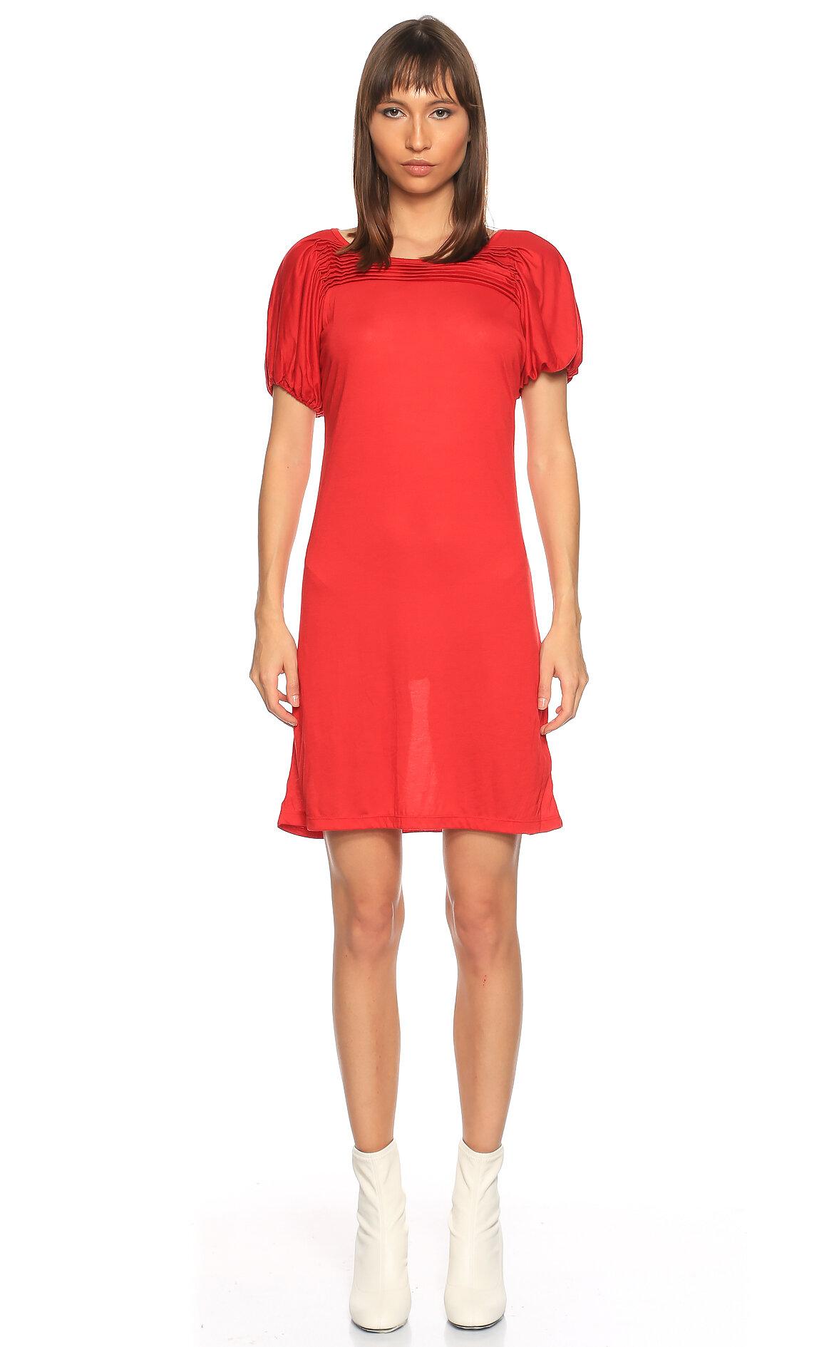 Fornarina Jeans-Fornarina Jeans Diz Üstü Kırmızı Elbise