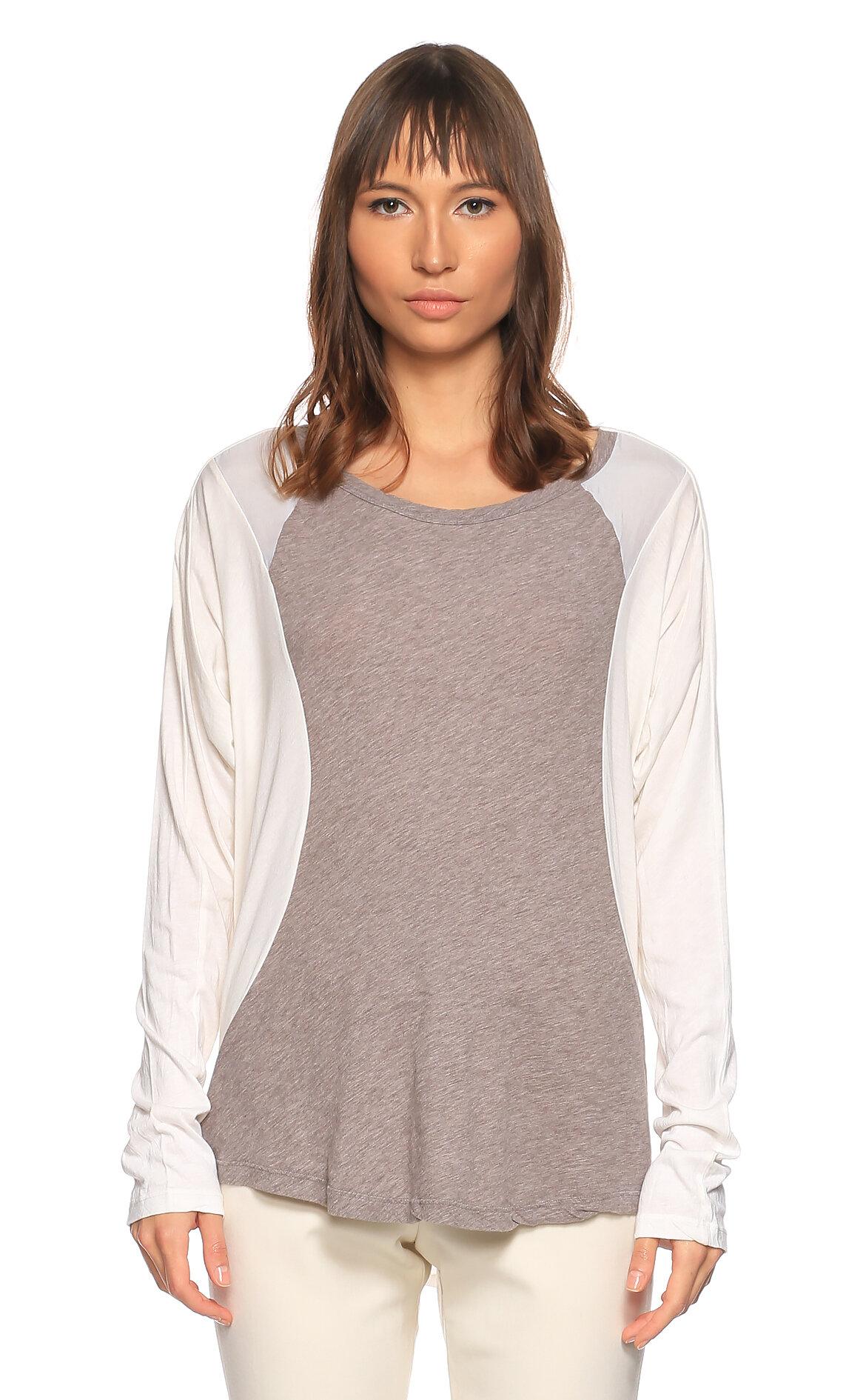 Clu-Clu Uzun Kollu Beyaz Gri T-Shirt
