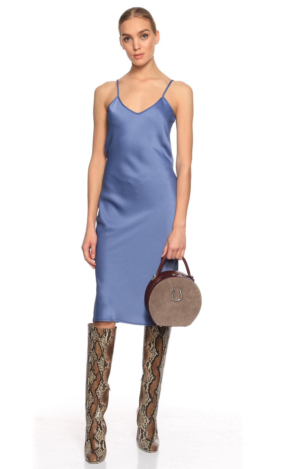 Rivus-Rivus Askılı Diz Altı Mavi Elbise