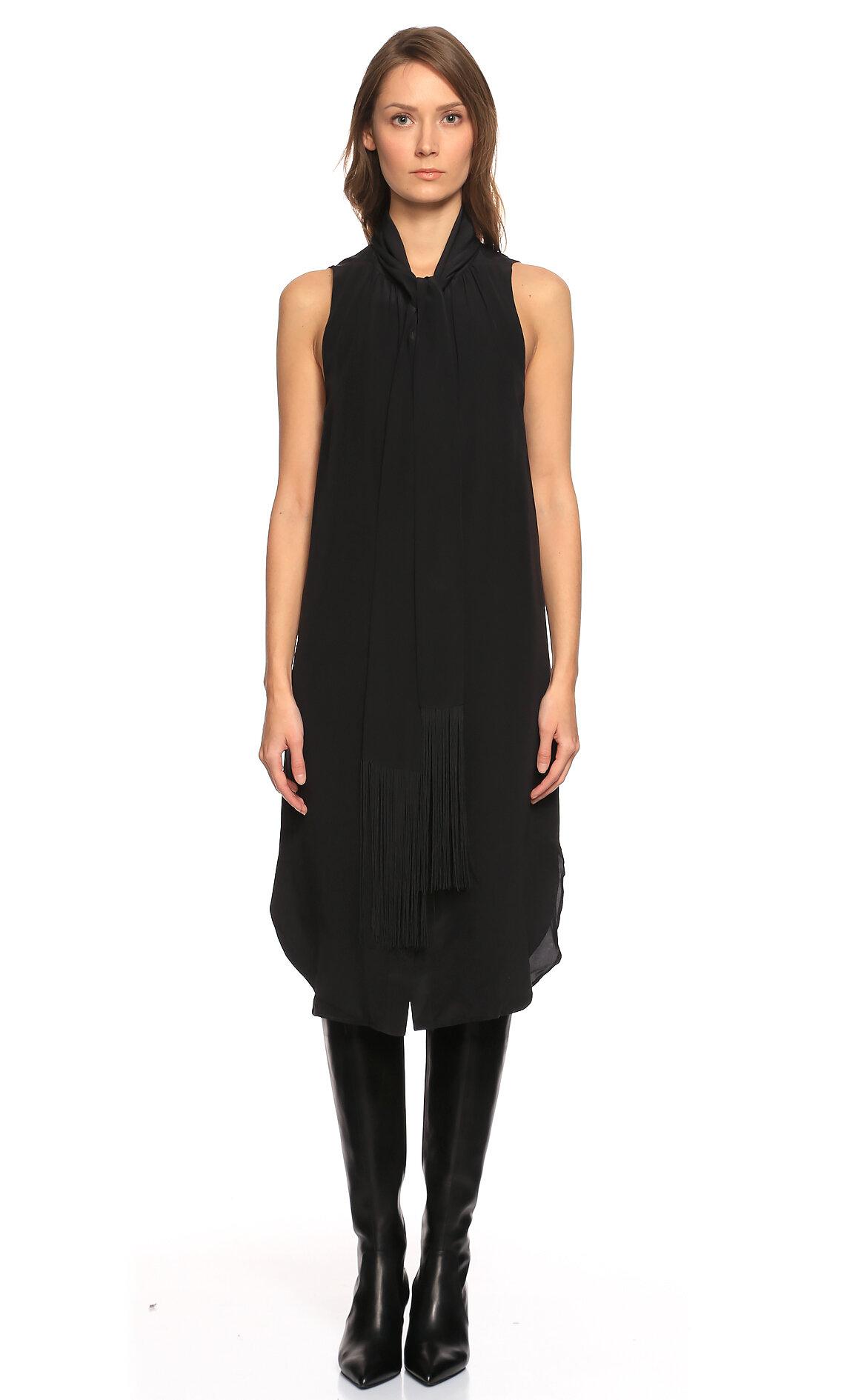 Joseph-Joseph Fular Yakalı Kolsuz Siyah Elbise