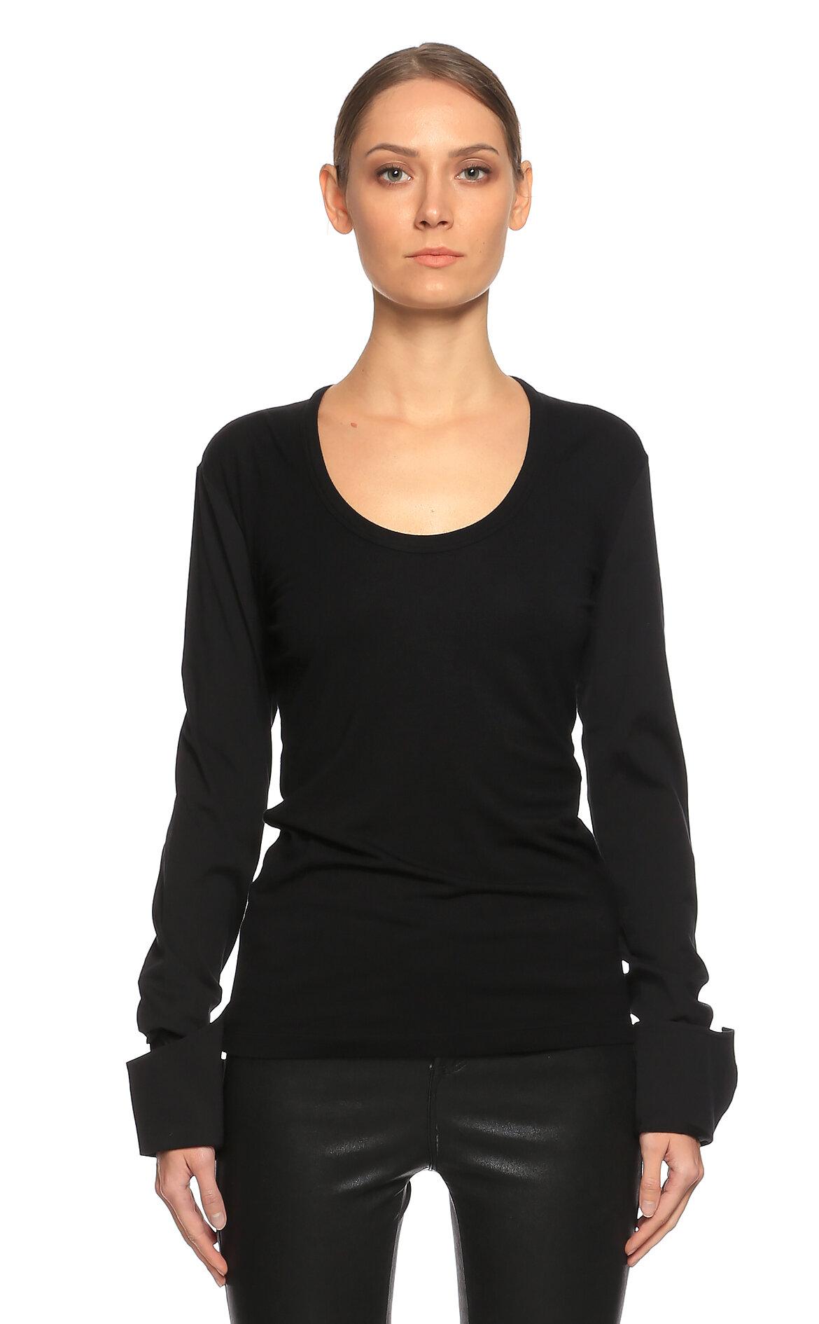 Gianfranco Ferre-Gianfranco Ferre Uzun Kollu Siyah T-Shirt