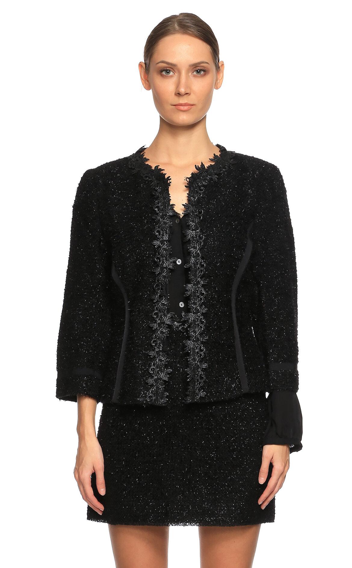 Ferre-Ferre İşleme Detaylı Siyah Ceket