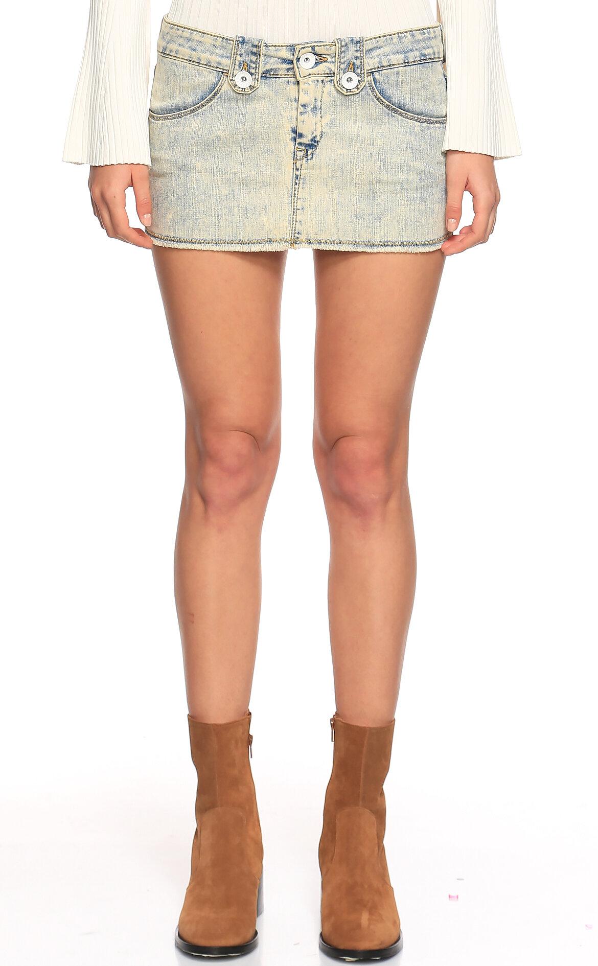 Fornarina Jeans-Fornarina Jeans Buz Mavisi Mini Jean Etek
