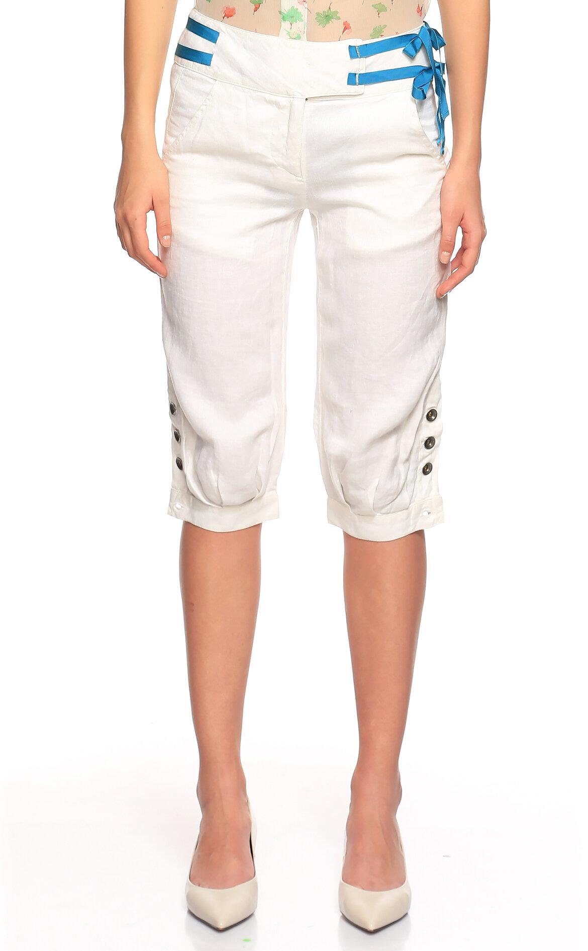 Fornarina Jeans-Fornarina Jeans Keten Beyaz Bermuda