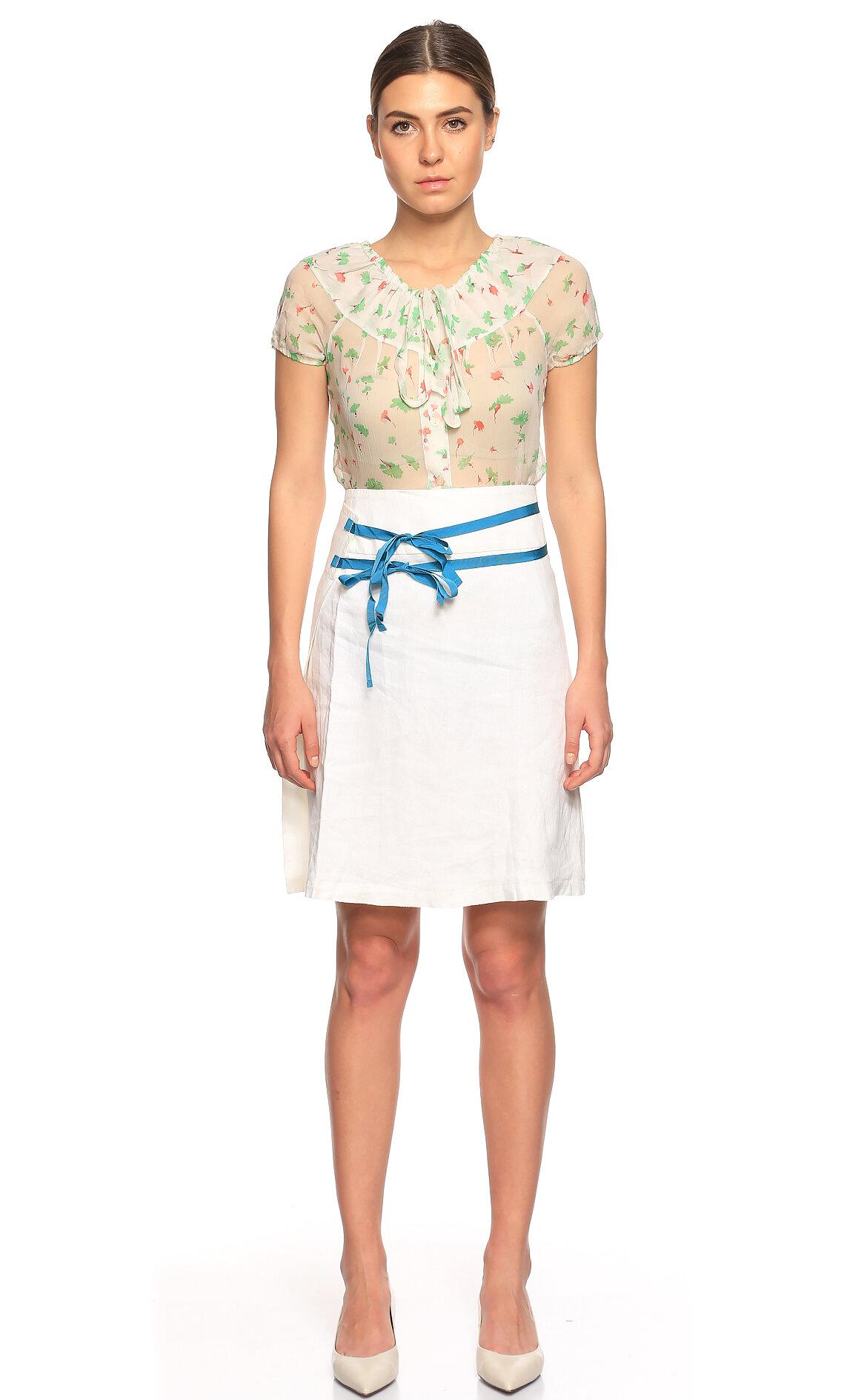 Fornarina Jeans-Fornarina Jeans Keten Beyaz Etek