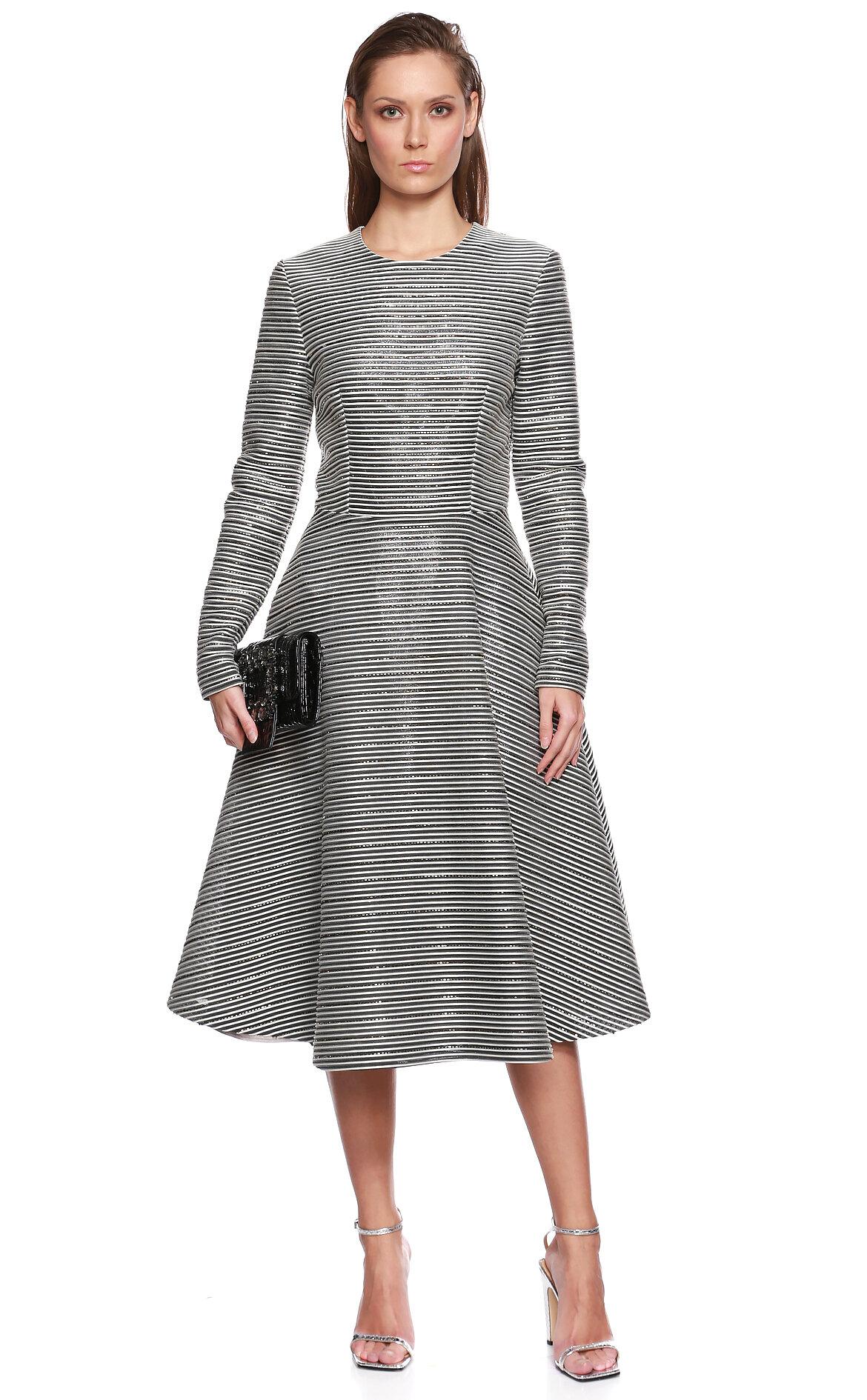 Meltem Ozbek-Meltem Ozbek İşleme Detaylı Gri Çizgili Elbise