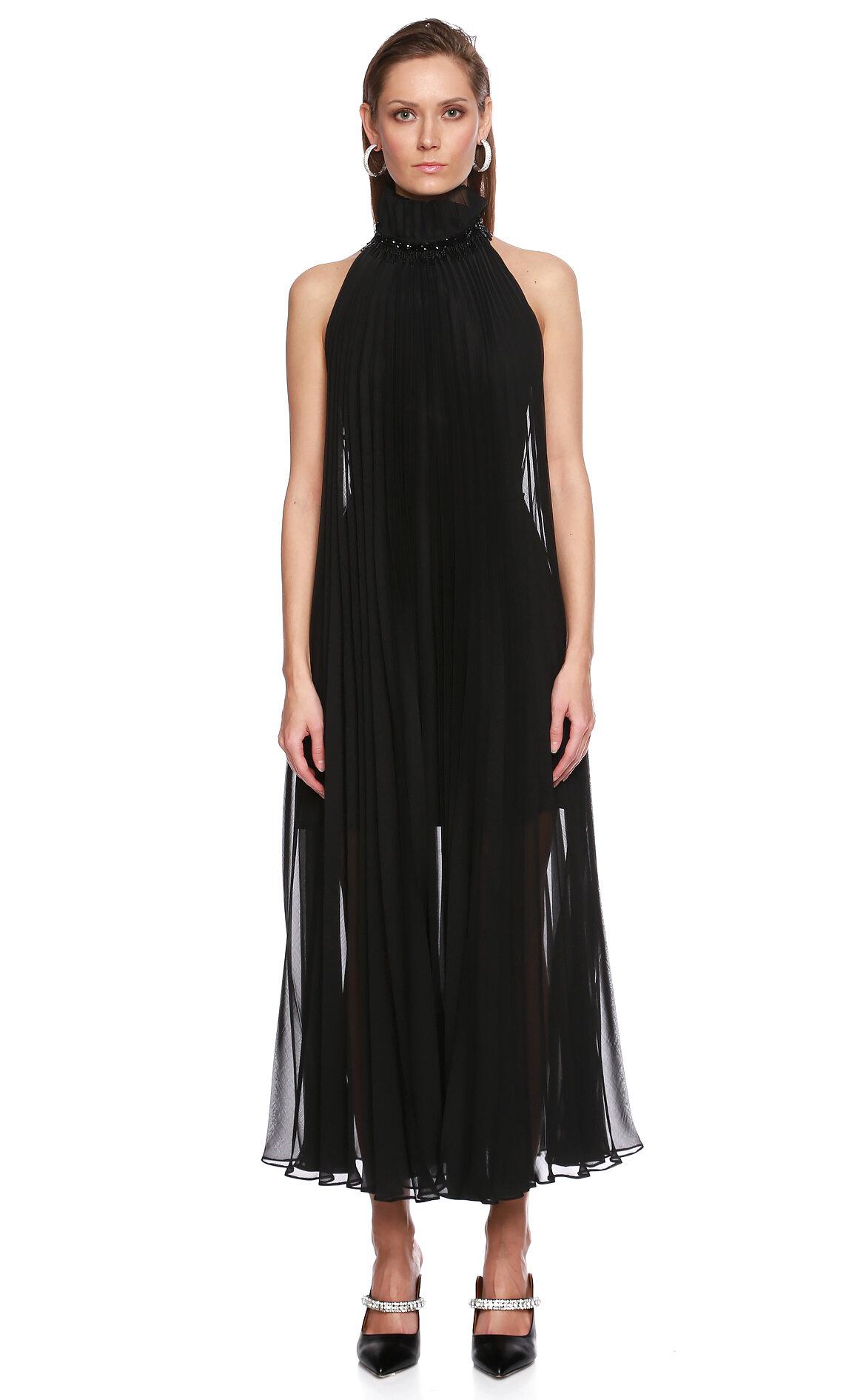 Meltem Ozbek-Meltem Ozbek Boğazlı Midi Siyah Elbise