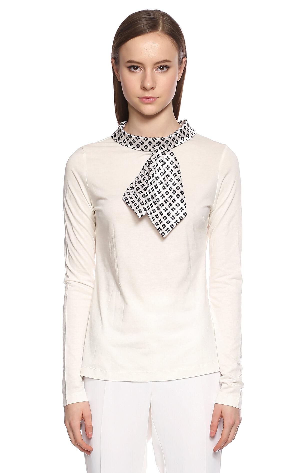 Fornarina Jeans-Fornarina Jeans Şal Yakalı Beyaz T-Shirt