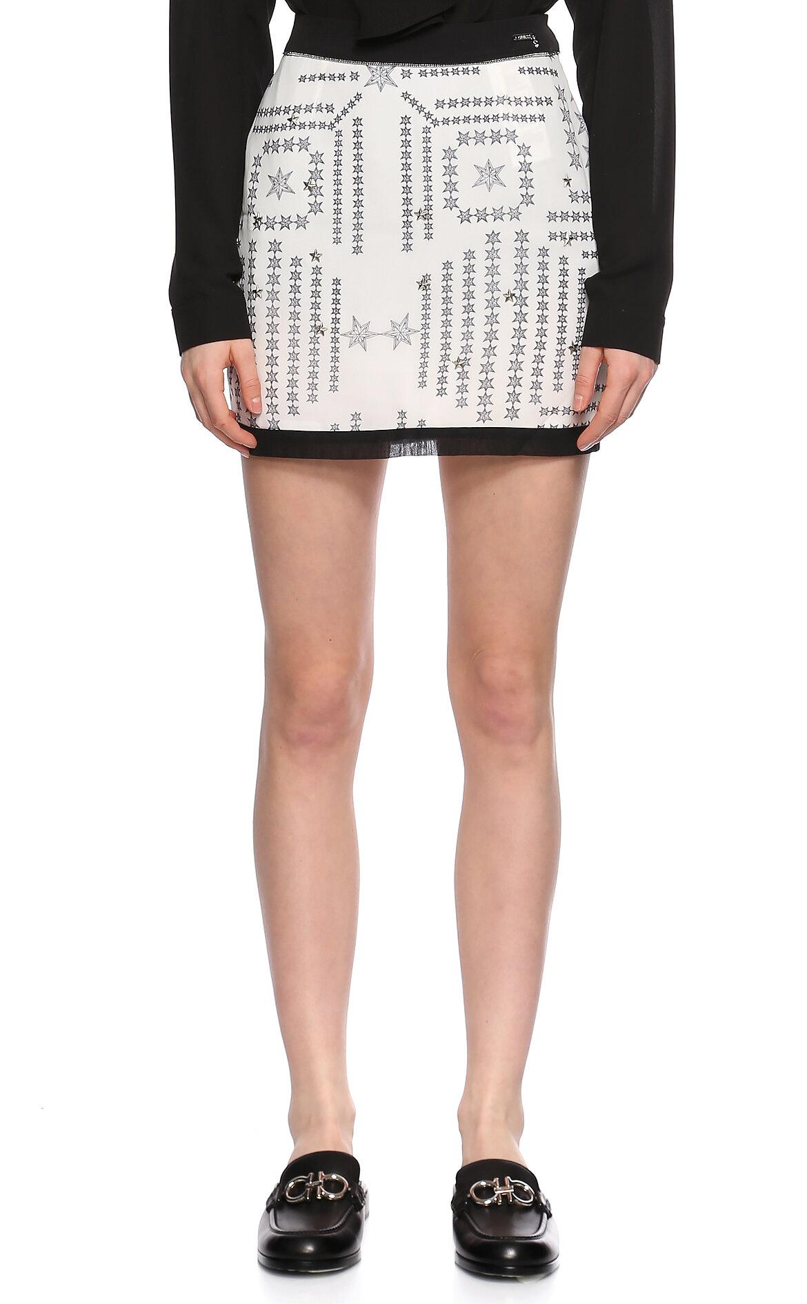 Guess-Guess Yıldız Desenli Beyaz Siyah Mini Etek