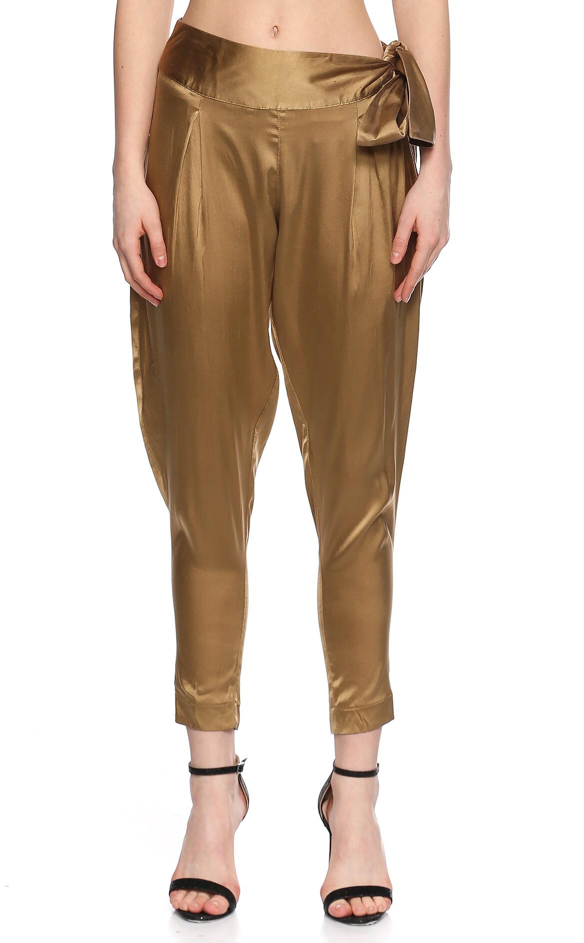 Ltd Jeans-Ltd Jeans Saten Şalvar Kesim Yağ Yeşili Pantolon
