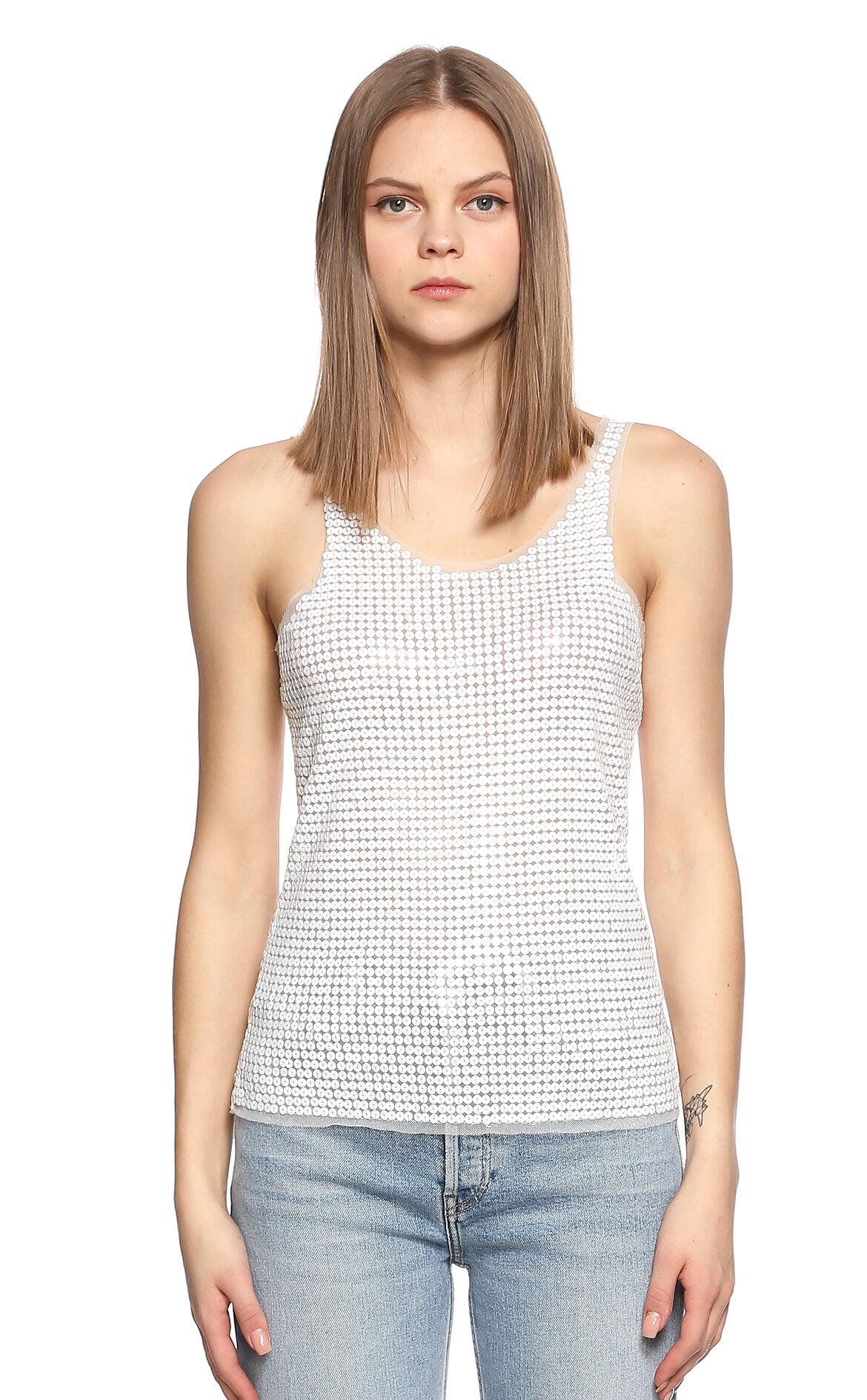 Ltd Jeans-Ltd Jeans Pul Payet Kolsuz Beyaz T-Shirt