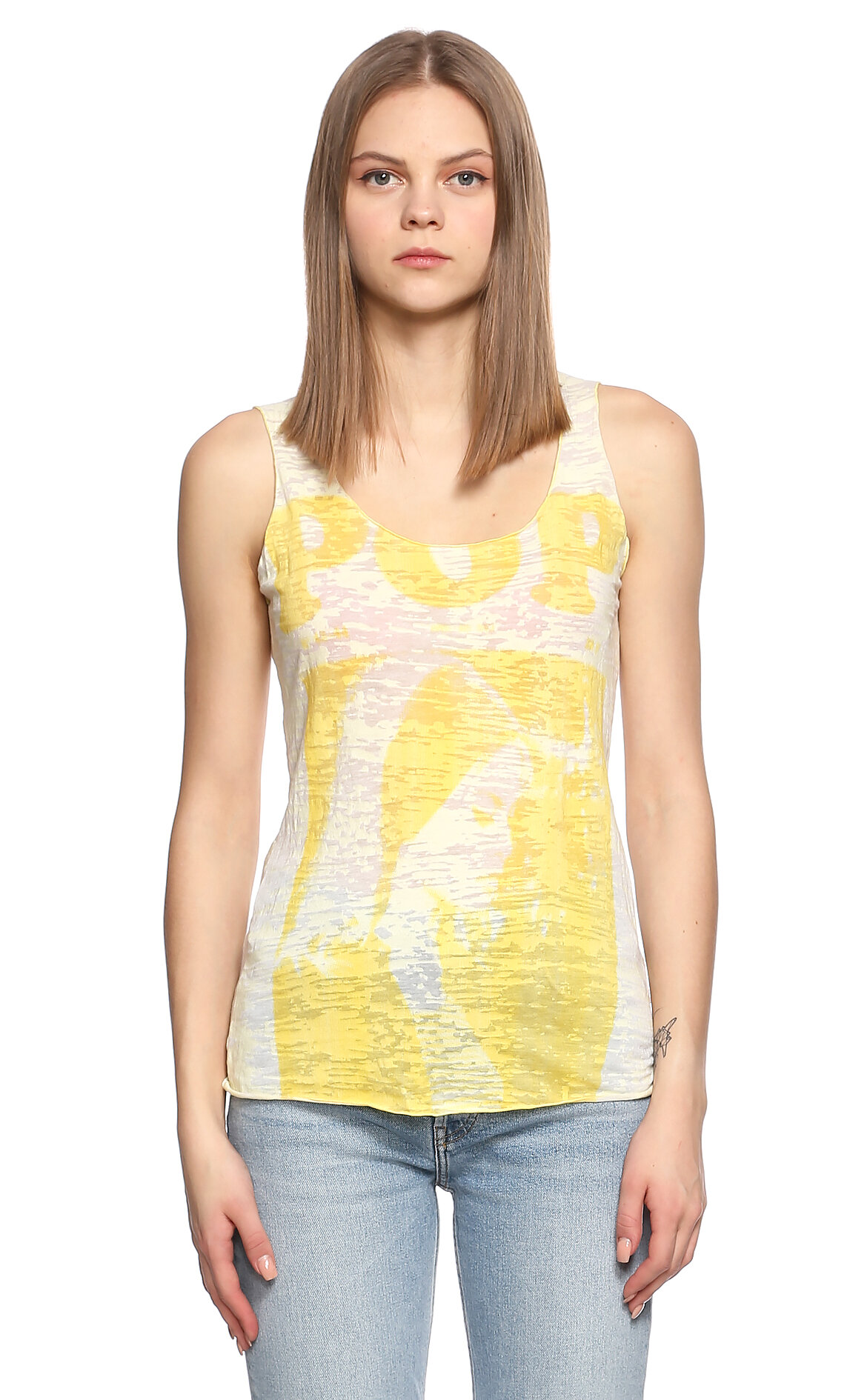 Fornarina Jeans-Fornarina Jeans Baskı Desen Kolsuz Sarı T-Shirt