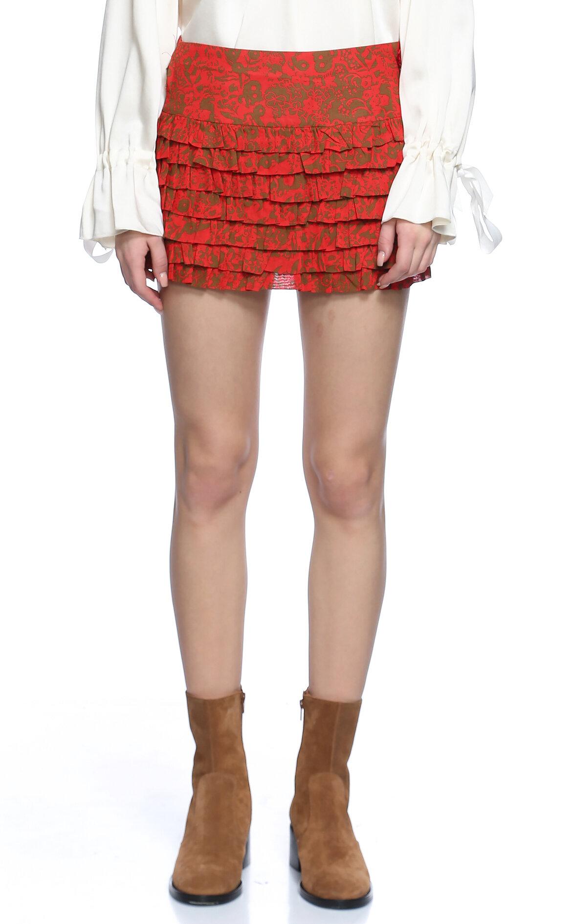 Ltd Jeans-Ltd Jeans Fırfırlı Desenli Mini Kırmızı Etek
