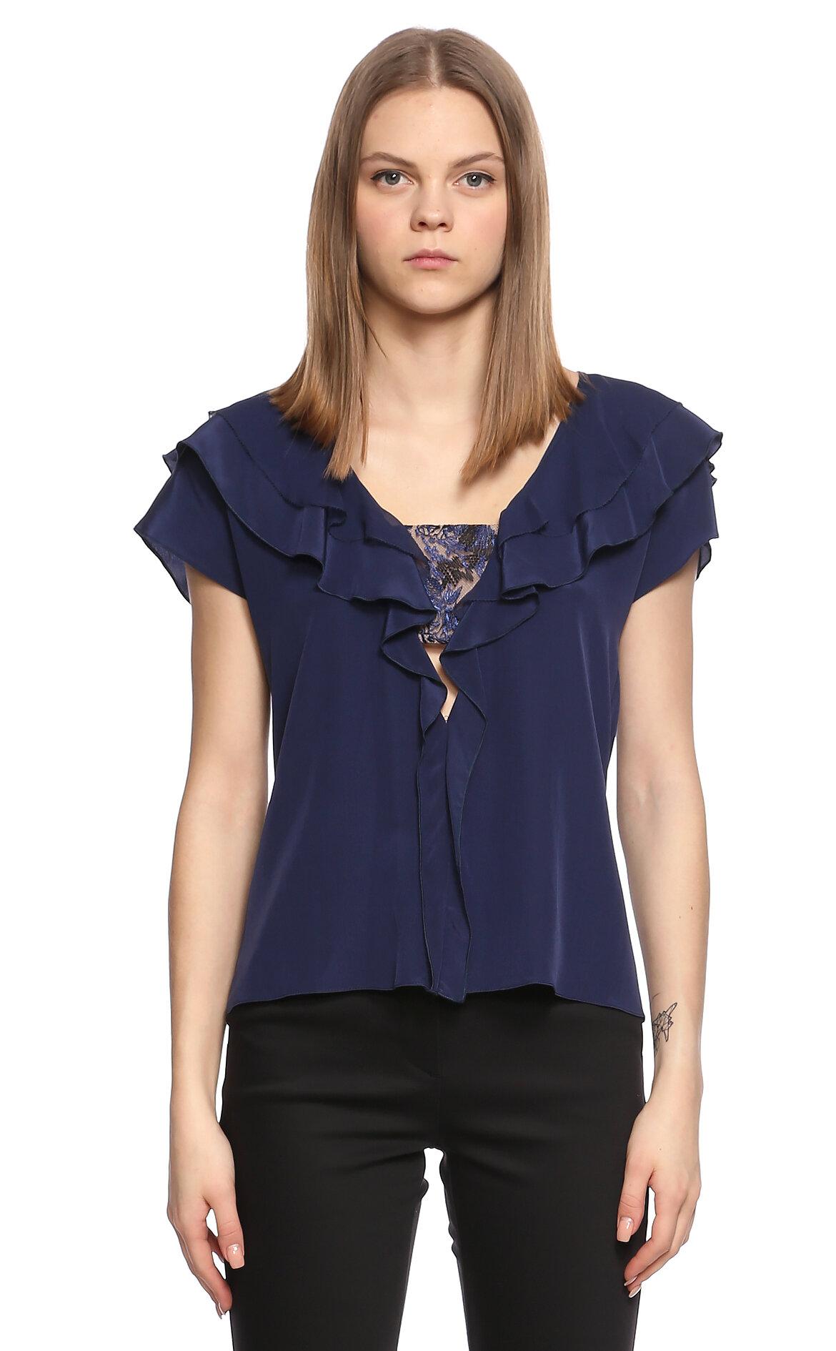Prabal Gurung  Fırfırlı Dantel İşlemeli Lacivert Bluz
