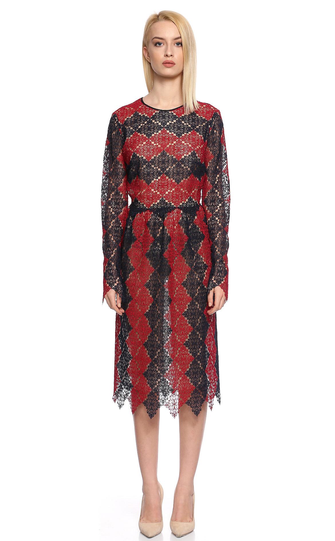 Erdem-Erdem dantel İşlemeli Kırmızı Lacivert Elbise
