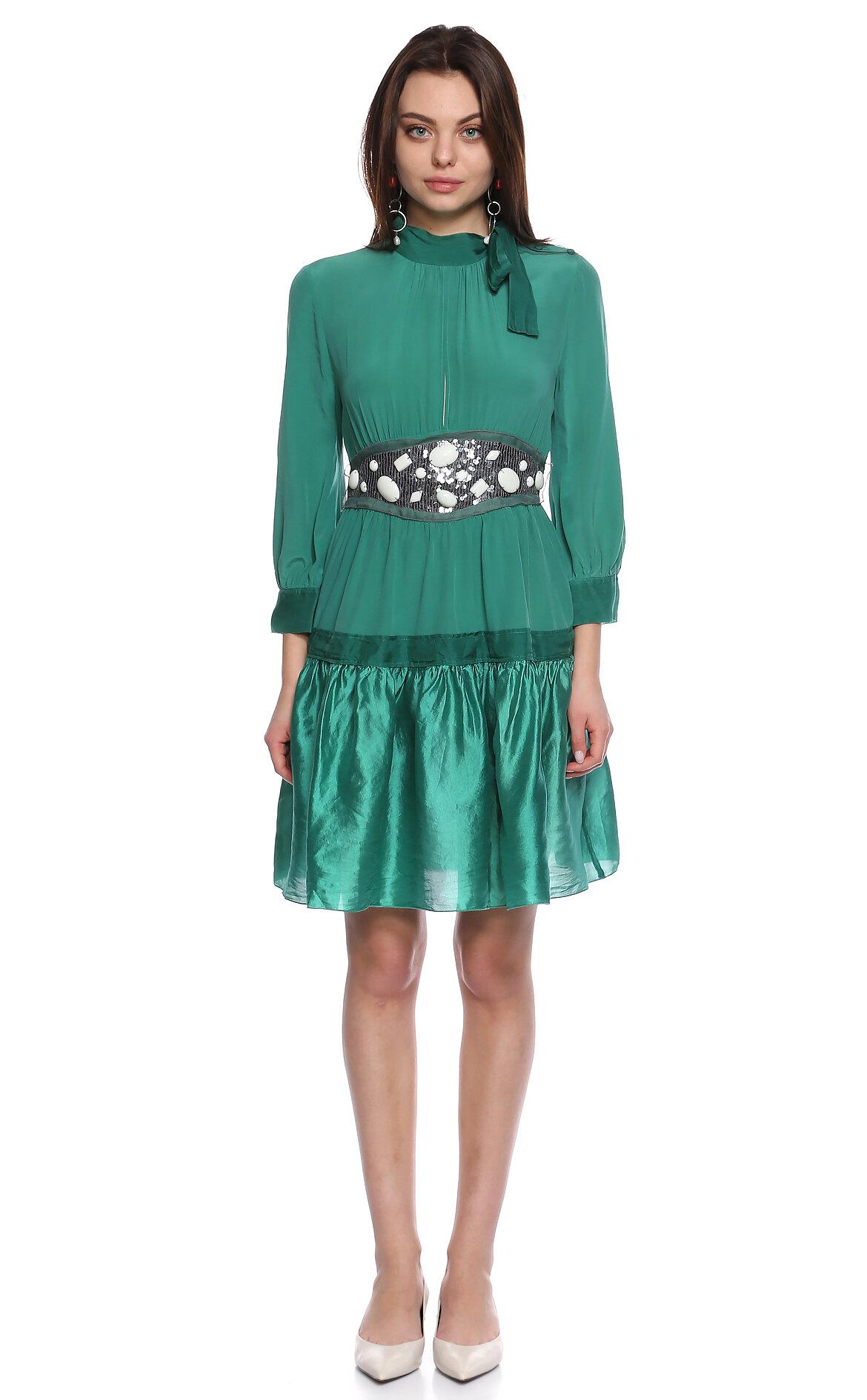 M.Missoni-M.Missoni Fular Yakalı Diz Üstü Yeşil Elbise