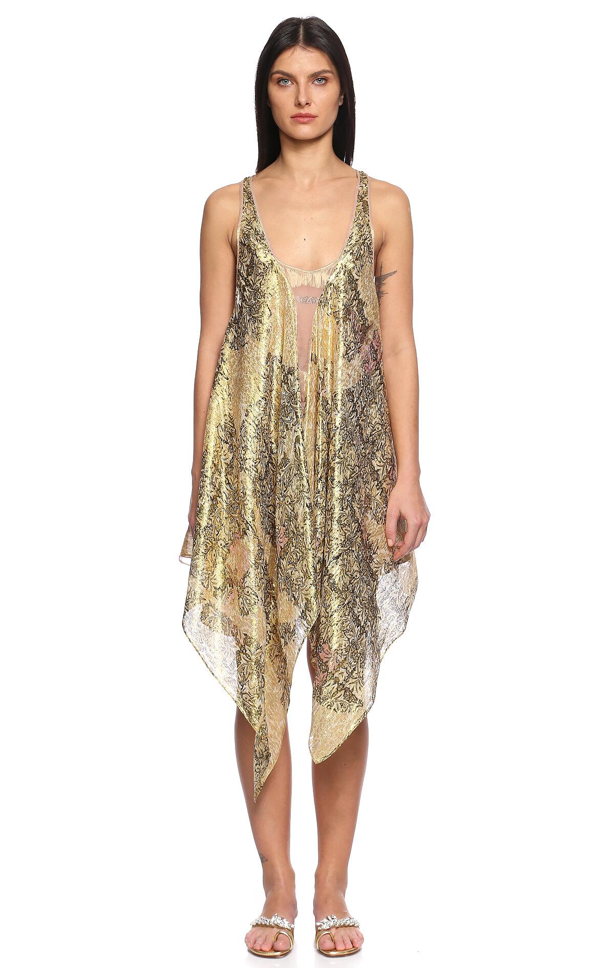 Just Cavalli  İşleme Detaylı Asimetrik Kesimli Altın Rengi Elbise