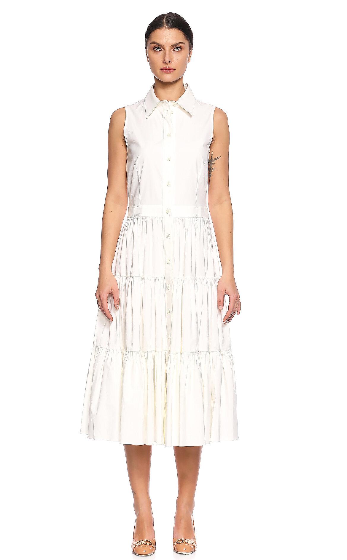 Michael Kors Collection-Michael Kors Collection Beyaz Midi Elbise