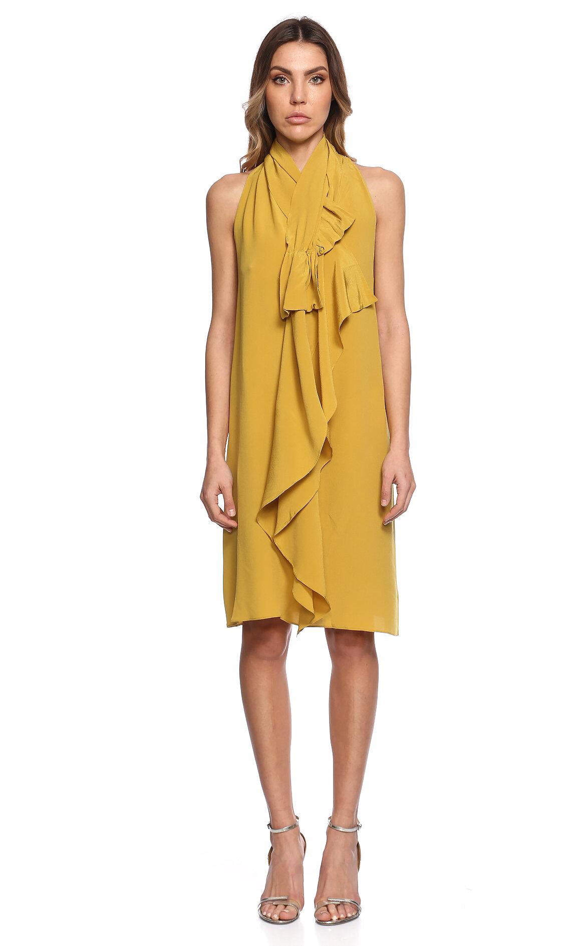 Gianfranco Ferre-Gianfranco Ferre Fular Yakalı Kolsuz Sarı Elbise