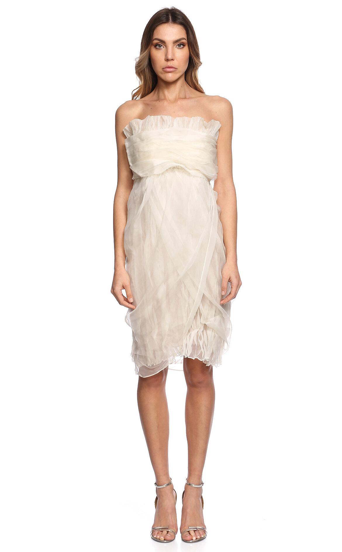 Gianfranco Ferre-Gianfranco Ferre Straplez Beyaz Elbise