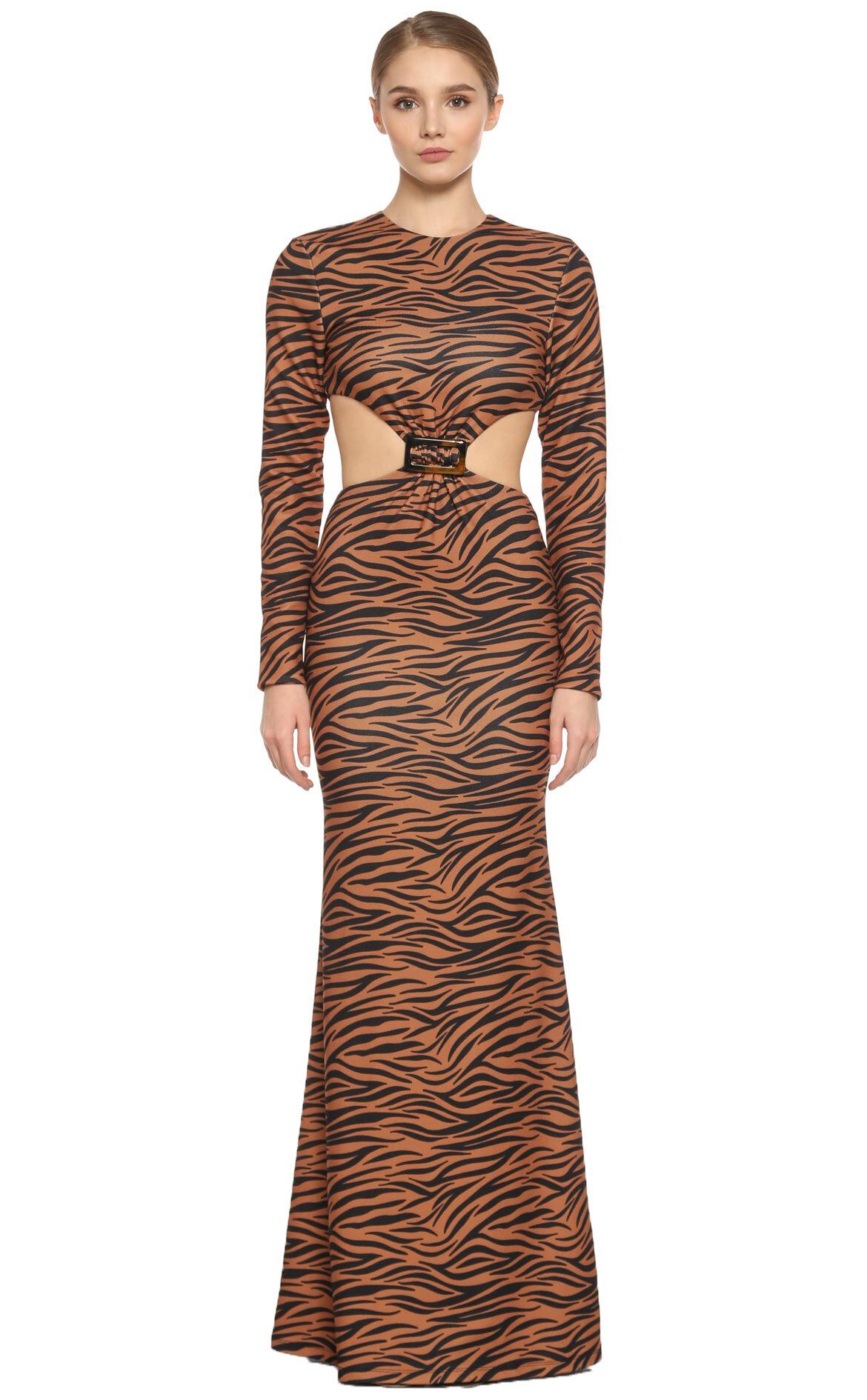 Mirela Cerica  Zebra Baskılı Uzun Elbise