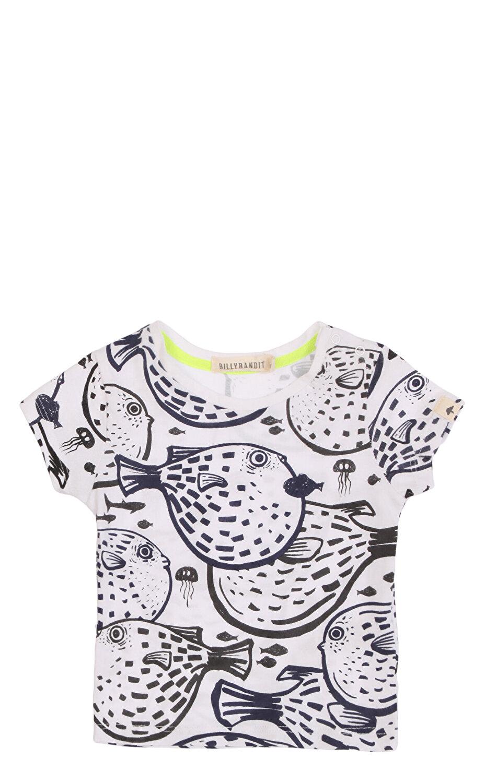 Billybandit Erkek Bebek Balık Desenli Beyaz T-Shirt