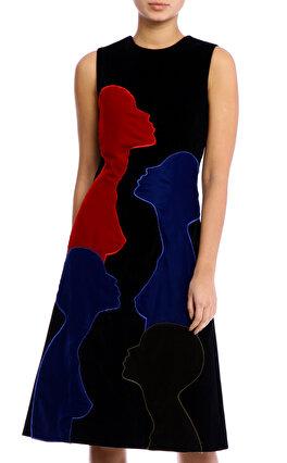 Christopher Kane Kadife kadın Figürlü Siyah Elbise