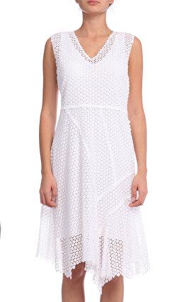 Elie Tahari İşleme Detaylı Beyaz Elbise