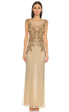 Parker Black İşleme Detaylı Gold Rengi Gece Elbisesi