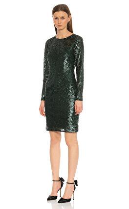 Carmen Marc Valvo Infusion Pul-Payet İşlemeli Yeşil Elbise