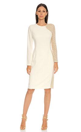 Elie Tahari Dantel Detaylı Beyaz Elbise