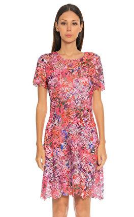 Elie Tahari İşleme Detaylı Renkli Elbise