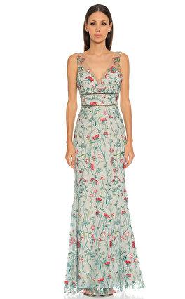 Marchesa Notte Çiçek İşlemeli Uzun Mavi Gece Elbisesi