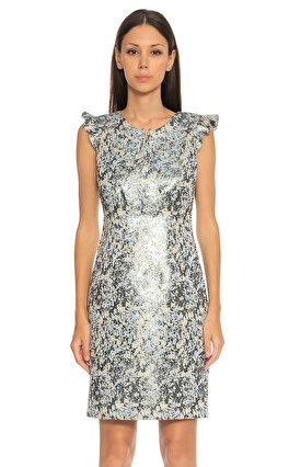 Elie Tahari Karma Desen Renkli Elbise