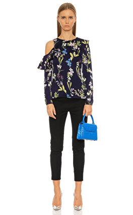 Karen Millen Yaprak Desenli Renkli Bluz