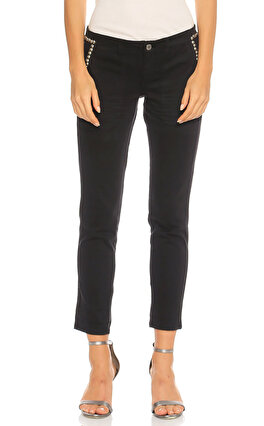 Guess Zımba Detaylı Siyah Pantolon