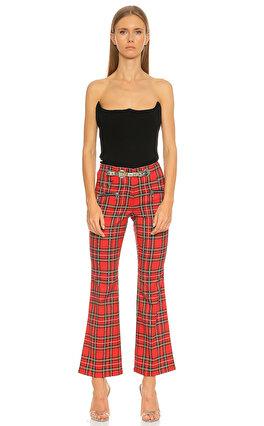 Miaou İspanyol Paça Kareli Kırmızı Pantolon