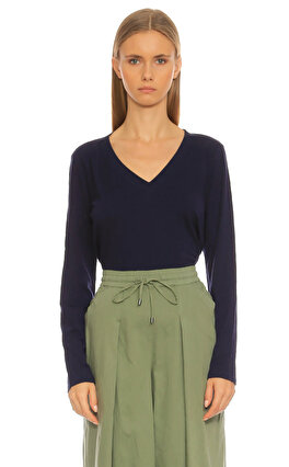 Eileen Fisher V Yaka Lacivert T-Shirt