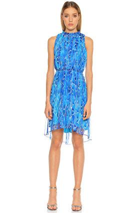 Elie Tahari Karma Desen Mavi Elbise