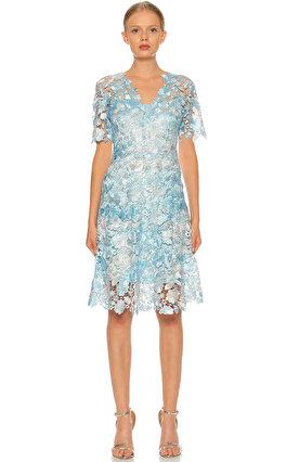 Elie Tahari Dantel Detaylı Mavi Elbise