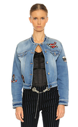 Karl Lagerfeld İşleme Detaylı Mavi Jean Ceket