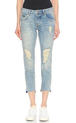 Superdry Yırtık Detaylı Mavi Denim Pantolon