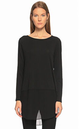 Eileen Fisher Düz Desen Siyah Bluz