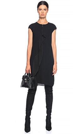 Agnona Fırfır Detaylı Siyah Elbise