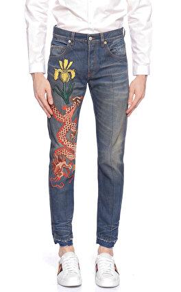 88fb3465117b9 Gucci İşleme Detaylı Renkli Denim Pantolon ...