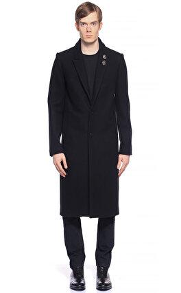 St. Nian Düz Desen Siyah Palto