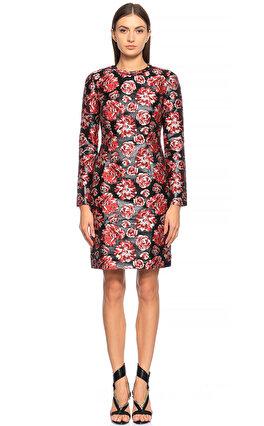 Lanvin Gül İşlemeli Kırmızı Elbise