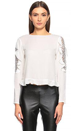 Silvian Heach Fırfır Detaylı Beyaz Bluz