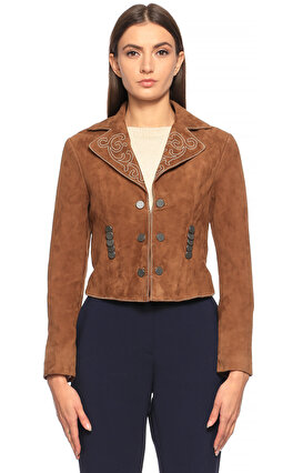 Silvian Heach İşleme Detaylı Kahverengi Ceket
