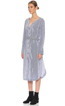 Sea Newyork Çizgili Midi Elbise